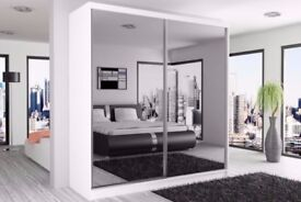 【MANY COLOR OPTIONS 】NEW 2 DOOR BERLIN SLIDING WARDROBE FULLY MIRROR WITH SHELVES AND HANGING RAILS