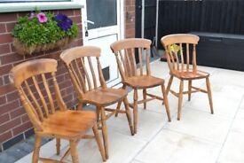 4 x pine chairs