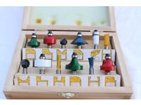 """Quality wood working ROUTER BITS - 12pc 1/4"""" - illustrated wood case"""
