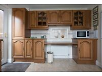SCHREIBER SOLID CHESTNUT KITCHEN UNITS. VERY GOOD CONDITION. ALL HINGES & DRAWERS WORKING PERFECTLY.
