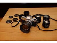 Canon AE-1 with Canon Prime Lens Set