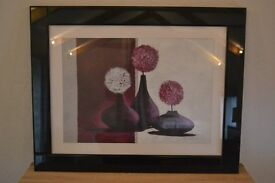Purple and plum contemporary flowers and vases in high gloss black frame - 75x96cm