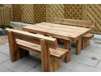 Oak railway sleeper table and benches garden table bench summer furniture set Loughview Joinery LTD