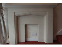 Stone effect fireplace and surround back