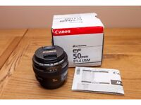Canon EF 50 mm F/1.4 USM lens for Canon - Black