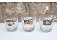 Set 3 1950's Isle of Mann Souvenir Tumbler Glasses Seaside Shot Glass Vintage Laxey Wheel