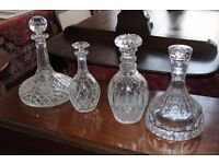 Crystal decanters and stoppers, assorted, four available.