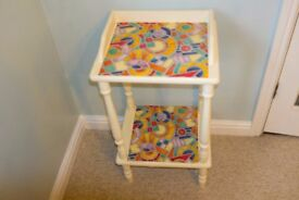 Cream coloured shabby chic upcycled small side table shabby chic/art deco style
