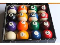 VINTAGE ARAMITH POOL BALL SET 7/8TH SIZE