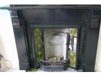 100 year old, origonal black slate fireplace