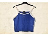 """Nike L Ladies Royal Blue with White Sports Strappy Gym Crop Top C31"""""""