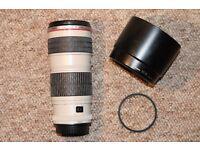 Canon EF 70-200mm F/4.0 L USM Lens + Hoya Filter & Hood
