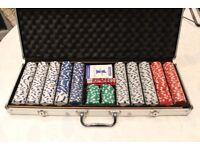 Poker chip set in aluminium case