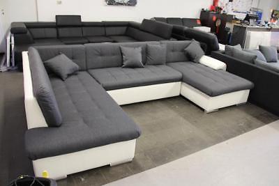U form Sofa Couch Sofa mit Schlaffunktion weiß grau A89 in ...