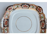 Beautiful Vintage Roslyn China Cake Plate Antique Flowers Gilded Sandwich Plate