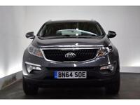 KIA SPORTAGE 1.7 CRDI 3 SAT NAV [PAN ROOF/LEATHER] ISG 5d 114 (silver) 2014