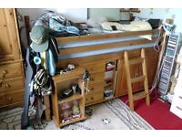 Single wooden frame 3/4 high sleeper bed with pull out desk set of drawers wardrobe cupboard ladder