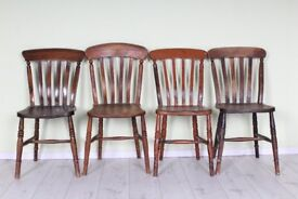 SET OF 4 SHABBY CHIC RUSTIC ANTIQUE BEECH CHAIRS, STURDY WITH CHARACTER - CAN DELIVER UK