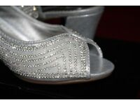 Ladies sling back size 5 wide fit Silver Sandals by Diamante of London