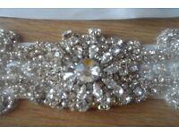 Beautiful diamante and ivory satin bridal belt/sash