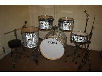 "Tama Superstar Hyper-Drive White Satin Haze 5 Piece Drum Kit (22"" Bass) + Stands + Stool + Cymbals"