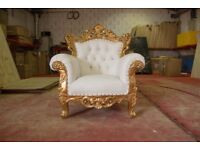 2 x New Gold Venice Armchair Wedding Luxury Hand made French Gilded Italian Furniture