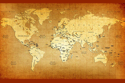 (Detailed Old World Antique Style Map Poster 18x12)