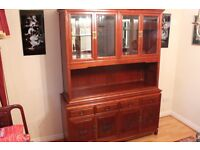 Rosewood Cabinet - immaculate sideboard with dresser, cupboards and glass shelves.
