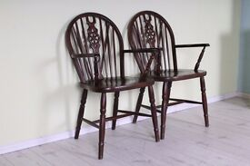 2 X WHEELBACK CARVER CHAIRS SOLID OAK STURDY SOLID SECURE - CAN DELIVER