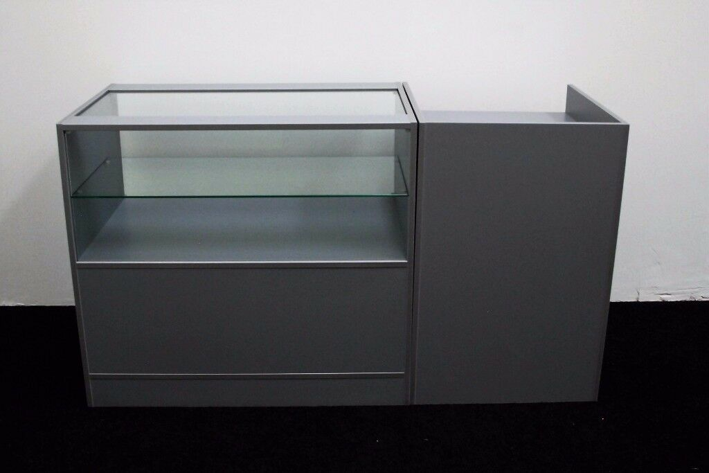 Ref:0328 Shop Counter set of 2 units Grey Metallica Matt Finish