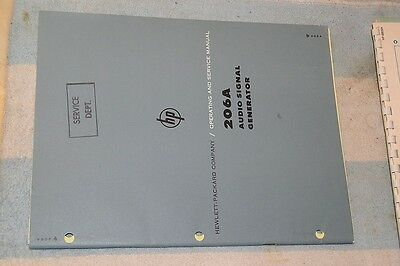 Hewlett-packard 206a Audio Signal Generator Operation Service Manual