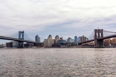 Manhattan and Brooklyn Bridges New York City Photo Art Print Poster -