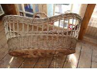 Large vintage wicker cradle