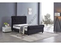 MANY MATTRESSES OPTIONS-PLUSH VELVET SLEIGH OTTOMAN STORAGE BED KING SIZE BED FRAME
