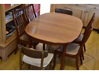 OPEN TO OFFERS - G Plan extendable dining table plus six chairs
