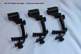 Set of three drum microphone clips