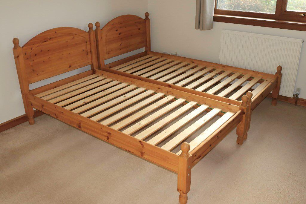 Matching Pair Of Wooden Single Bedframes Complete With Memory Foam