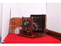 Thornton Pickard Rare Vintage Wooden Plate Camera. with plate Holders and Tripod.
