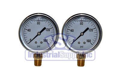 Liquid Filled Pressure Gauge 0-160 Psi 2-12 Face 14 Lm Single Scale