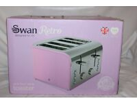 Swan Retro Style Pink 4 Slice Electric Toaster. Model No Swan ST17010PN. 1600w power. As new.