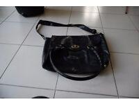 Large Black Satchel Type Bag with Handles & Shoulder Strap 34cm wide x 34 cm.