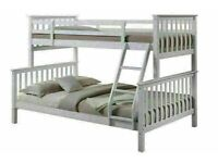 OFFER w MANY KING MATTRESSES RANGE NEW TRIO WOODEN SINGLE TOP & DOUBLE TOP BUNK BED FRAME