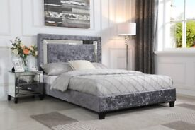 Augustina Crushed Velvet King Size Bed Silver with Mirror - Brand New Boxed