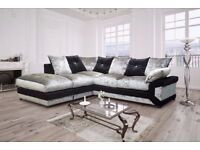 = PREMIUM QUALITY = BRAND NEW DINO CRUSHED VELVET CORNER SOFA AVAILABLE CORNER AND 3+2 SUITE