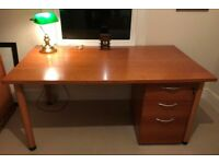 Desk, pedestal and matching file storage cupboard