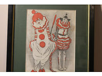 Vintage Framed Clown Print Joe Grimaldi and Franny Price Circus C.1930 Harlequin Art Picture Antique