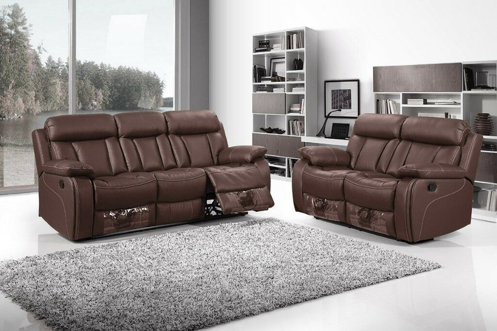 3 2 Vancouver Brown Leather Recliner Sofas With Cupholder Brand New