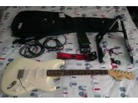 SQUIRE BY FENDER WHITE STRAT ELECTRIC GUITAR WITH ACCESSORIES JOBLOT IN EXCELLENT CONDITION