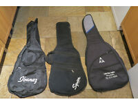 3 Guitar Gig Bags Soft Cases Electric Fender Squier Ibanez Black Carry