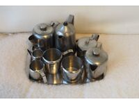 stainless steel teapot and coffee pot set with tray